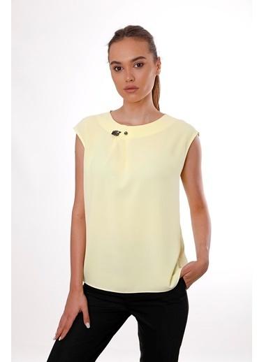 Clıche  Kadın Sarı Kolsuz Bisiklet Yaka Bluz Sarı